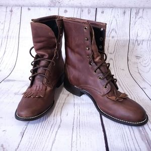 Laredo western roper boot lace up brown size 8 1/2